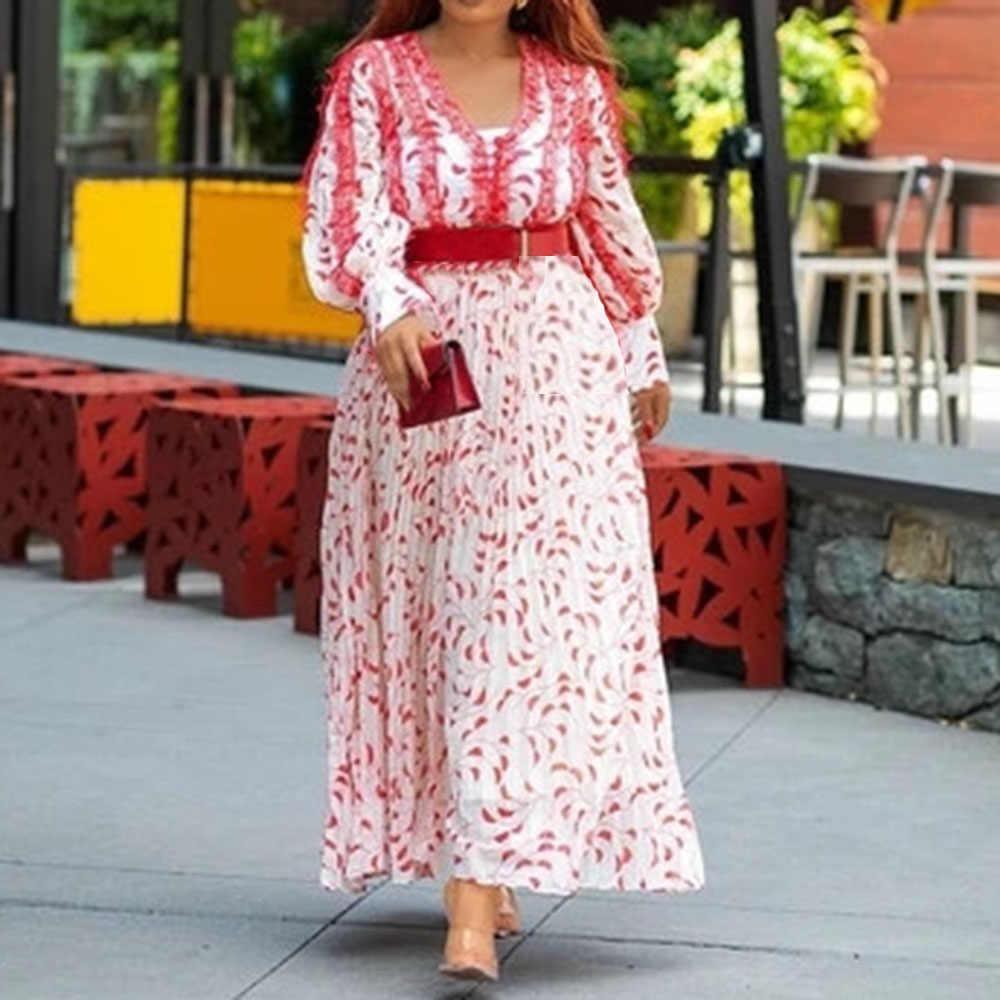 Phụ Nữ Xếp Ly In Áo Dài Cổ Chữ V Thanh Lịch Tay Dài Boho Áo Dây Femme Châu Phi Thu Đông Phối Ren Sọc Appliques Đầm Maxi Đầm Vestido