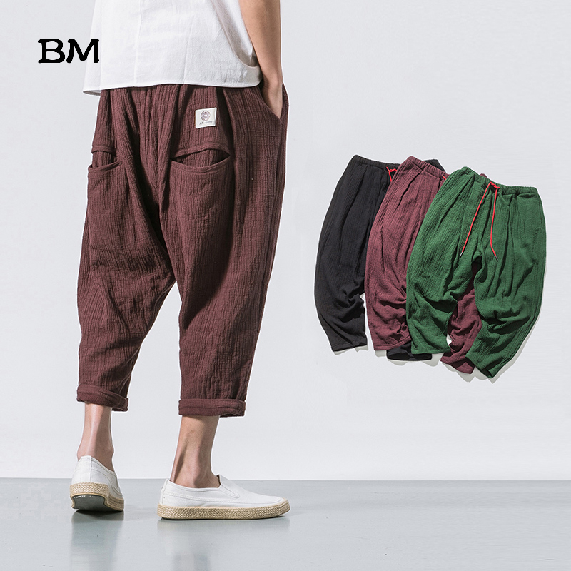 Chinese Style Black Linen Cropped Trousers 2019 Ethnic Style Harem Pants Mens Baggy Pants Summer Japanese Loose Joggers