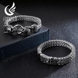 Image 2 - Fongten Bracelet Punk avec crâne, rétro pour hommes, Bracelet en acier inoxydable, breloque argent, Bracelet damitié, large, bijoux pour hommes