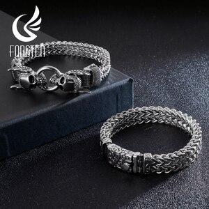 Image 2 - Fongten Retro Skull Punk Bracelet Men Stainless Steel Charm Sliver Bracelet Friendship Bracelets Wide Bangle Mens Jewellery