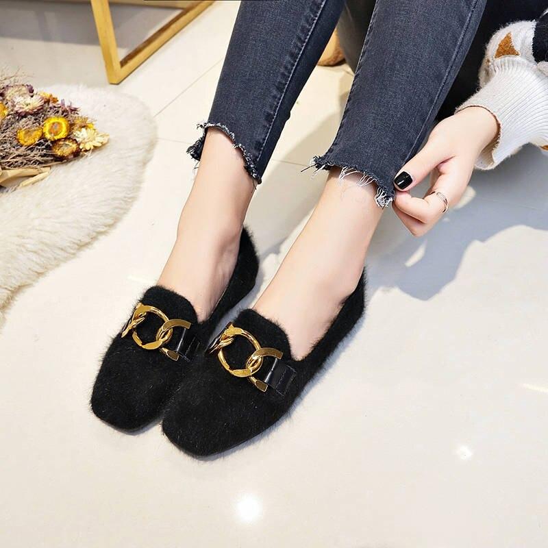 Women Shoes Fur Shoes Woman Autumn Winter Short Plush Flat Shoes Women Loafers Ladies Shoes Zapatillas Mujer chaussures femme 43
