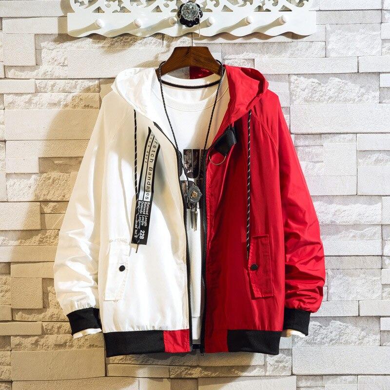 2019 New Slim Hooded Jackets Men New Patchwork Color Block Pullover Jacket Fashion Tracksuit Coat Men Hip Hop Streetwear Jacket