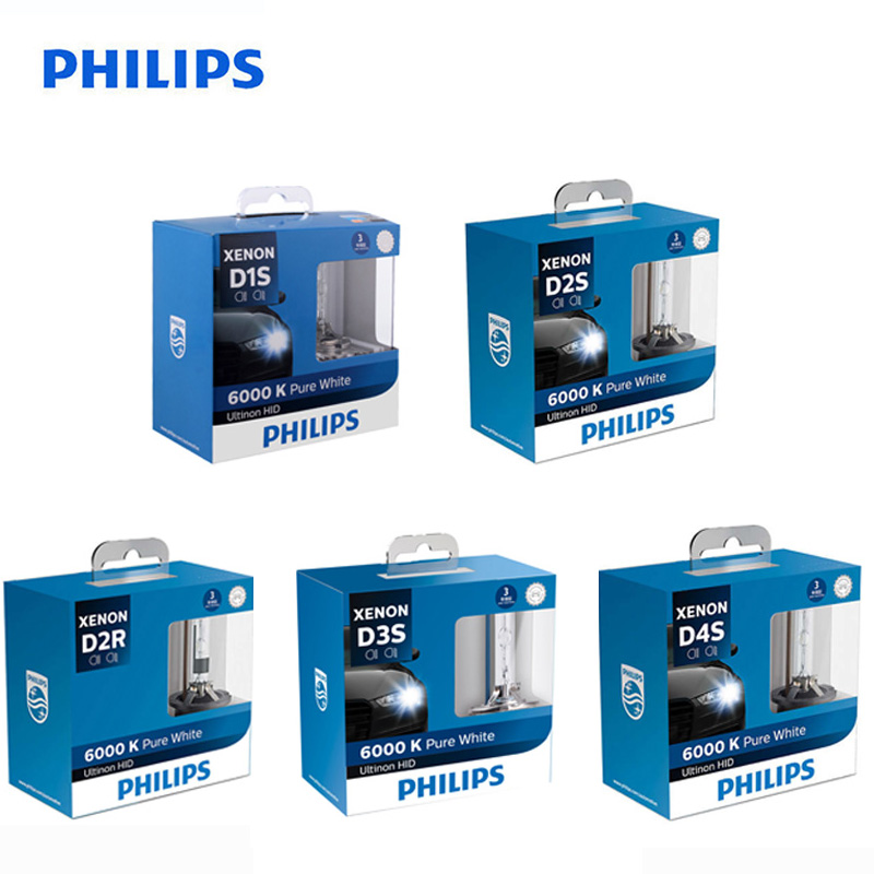 Philips Ultinon HID Xenon D1S D2S D2R D3S D4S WXX2 35W 6000K Cool White Light Xenon Headlight Car Bulbs Auto Lamps