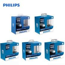 Philips farol xenon para carro, farol de carro com luz branca fria e xenon d1s d2s d2r d3s d4s wxx2 35w 6000k lâmpadas automáticas