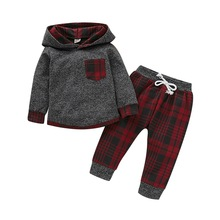 Toddler Infant Baby Boys casual clothes for kids Long Sleeve Plaid Pocket Hoodie Tops Sweatshirt plaid pants set Outfits  D30 rose embroidered plaid sweatshirt