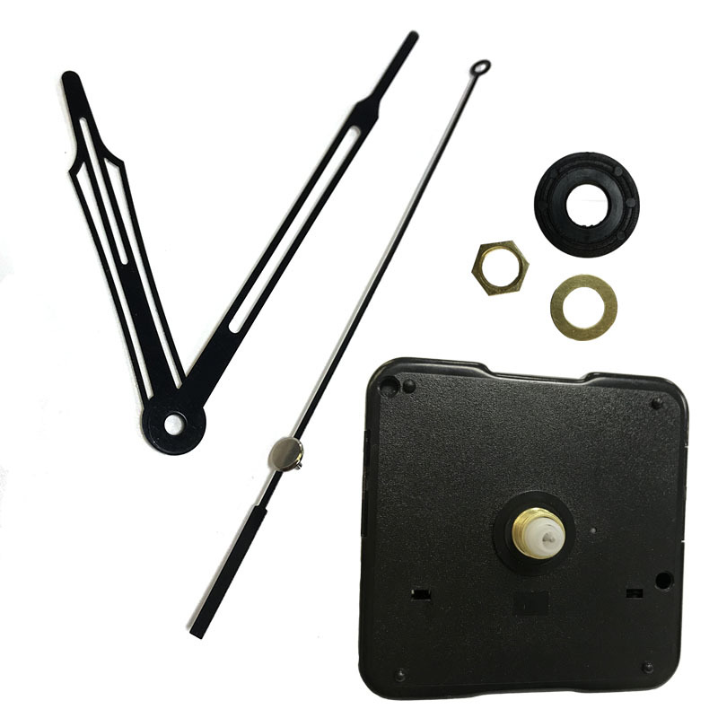 DHL 50sets 8 12 19 20 24 Mm Shaft Quartz Wall Clock Movement Mechanism With Hollow Black Hands DIY Repair Parts High-quality