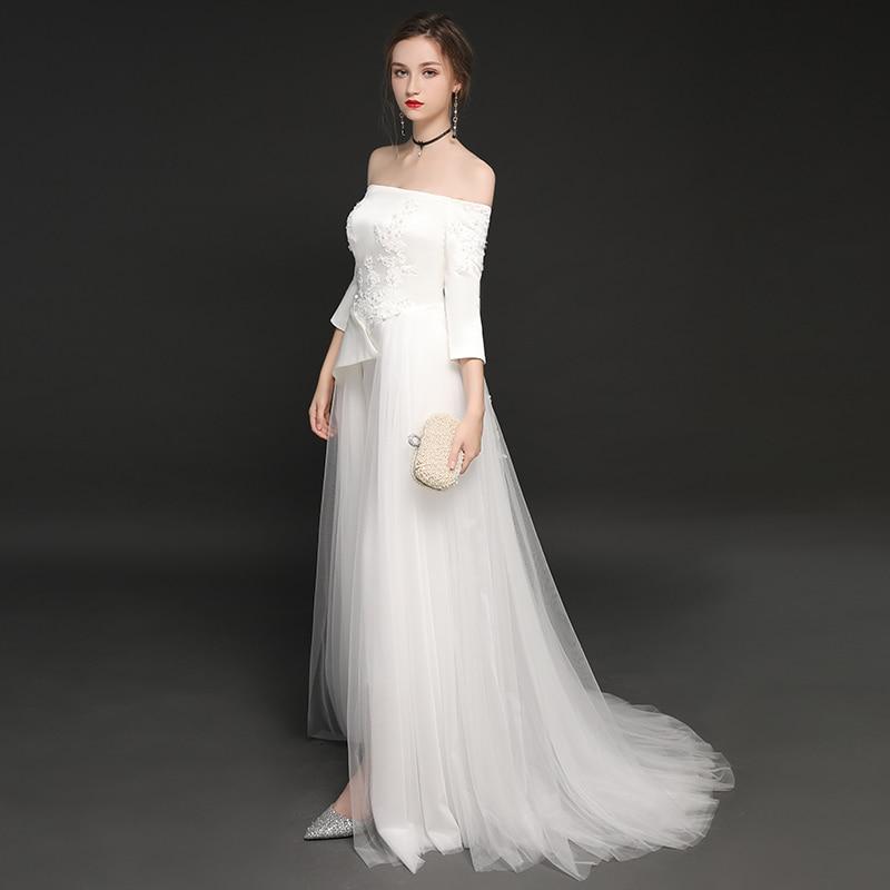 Ensotek White Wedding Jumpsuits 2019 Three Quarter Sleeves New Tulle Satin Wedding Dresses Off the Shoulder Vestidos de Festa in Wedding Dresses from Weddings Events