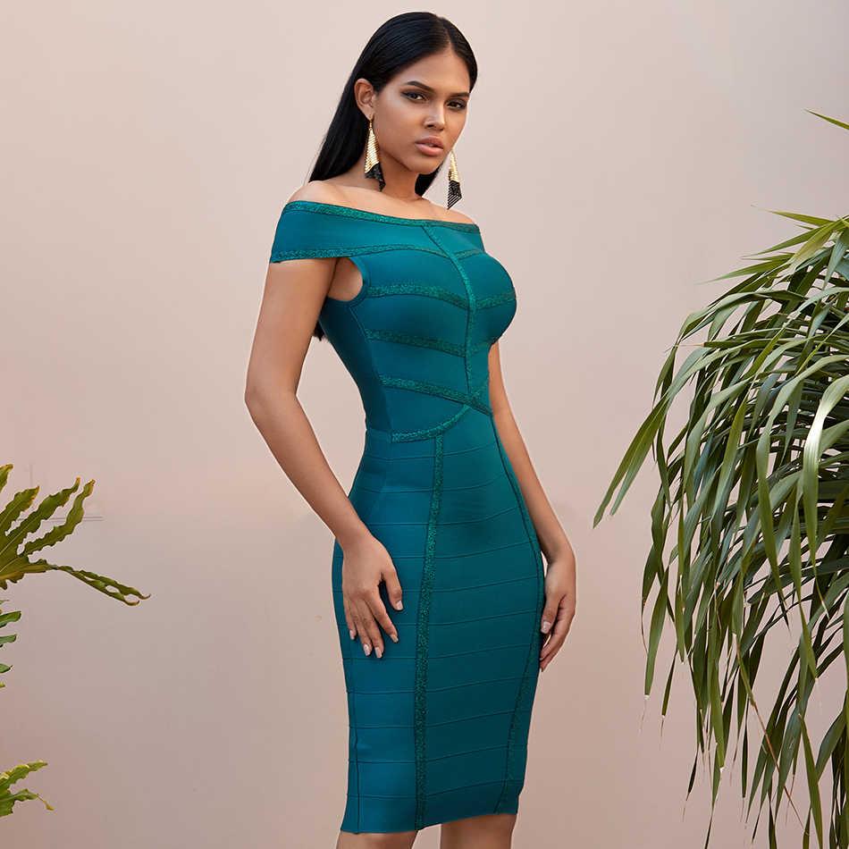 สีเขียวเซ็กซี่ปิดไหล่คนดังชุดราตรีผ้าพันแผลชุด 2019 ฤดูร้อนใหม่ Elegant แขนสั้นรันเวย์ MIDI Vestidos คุณภาพสูง