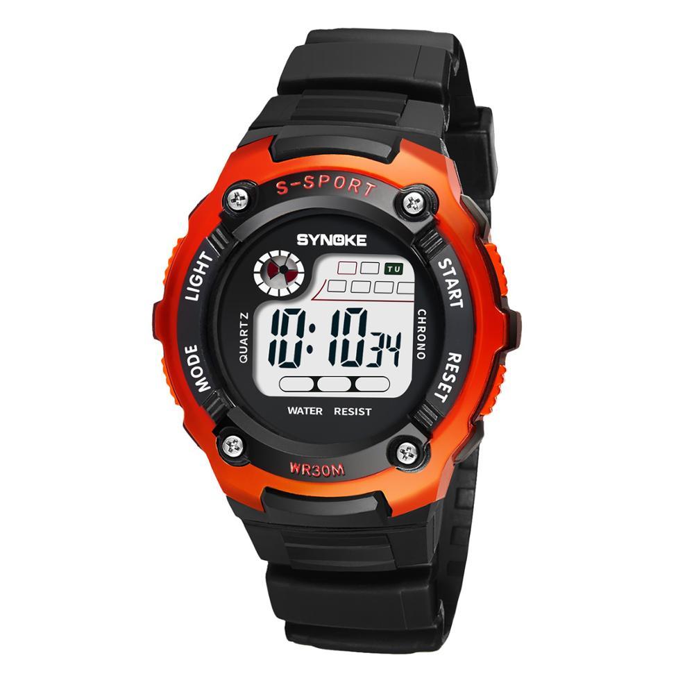SYNOKE Дети Часы Мода LED Дисплей Электронный Будильник Цифровой Часы Спорт 30M Водонепроницаемый Дети Электронный Наручные Часы Новый