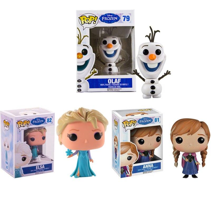 Funko pop disney congelado neve rainha princesa boneca anna elsa olaf figura de ação coleção modelo brinquedos para crianças presente natal