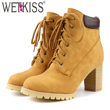 WETKISS Motorcycle Boots Women Ankle Boot Female High Heels Shoes