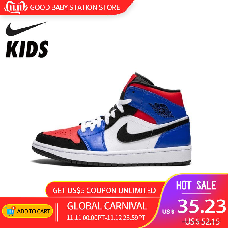 Nike Air Jordan 1 Original New Arrival Kids Shoes Breathable Children Basketball Shoes Outdoor Sports Sneakers #554724-124