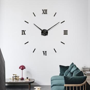 48 #8222 rzym z cyframi analogowymi zegar ścienny 3D nowoczesne DIY wnętrze rzymski zegar ścienny 3D lustro DIY wystrój naklejki ścienne czarny złoty srebrny tanie i dobre opinie CN (pochodzenie) Wall Clock Quartz Watch circular Akrylowe 120cm Jedna twarz 1200mm 200g Mechaniczne Płyta 9 mm PLANT Tłumienie głośnika
