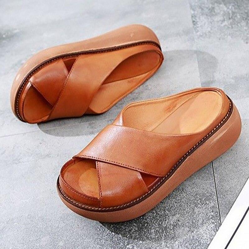Повседневные женские тапочки на платформе с перекрещенными ремешками летние туфли на танкетке размера плюс Ретро женские сандалии Слайды на высоких каблуках|Тапочки|   | АлиЭкспресс