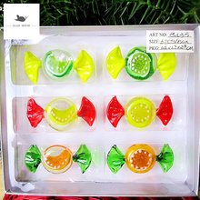 6PCS Vintage Ornament Gift Creative fruit drops design Murano Style Glass Candy Decoration Christmas Sweets Festival Party Kids