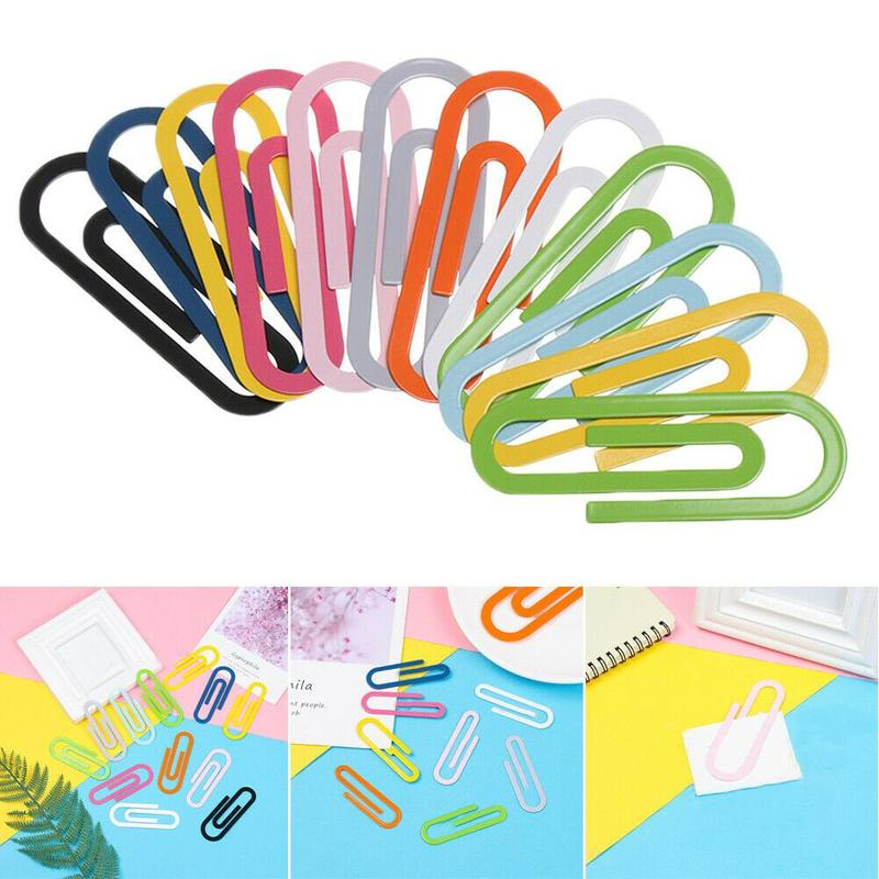 2pcs Colorful Big Metal Paper Clips Large Back Stitch Students Use Large School Supplies Paper Clips Stationery Paperclips