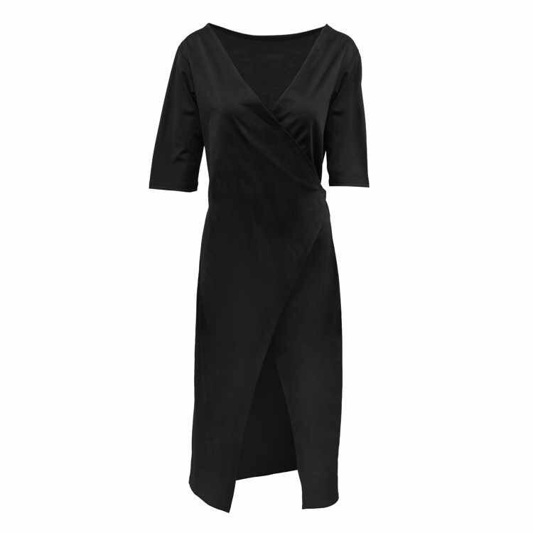 5376 # Zomer Dragen Zwarte V-hals Half Mouwen Slit-Bandage Doek Taille Knuffelen Jurk 2020 Nieuwe