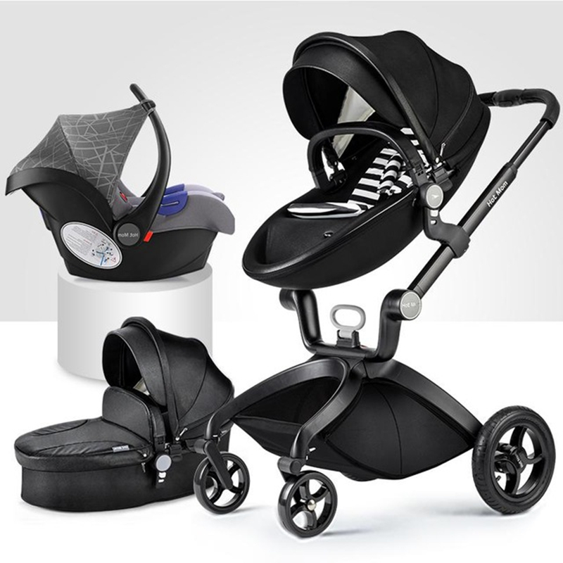 Hot Mother 3 in 1 Baby Stroller Luxury High Landscape 2 Light Folding Four Wheels Pram CE Standard Free Shipping Gifts