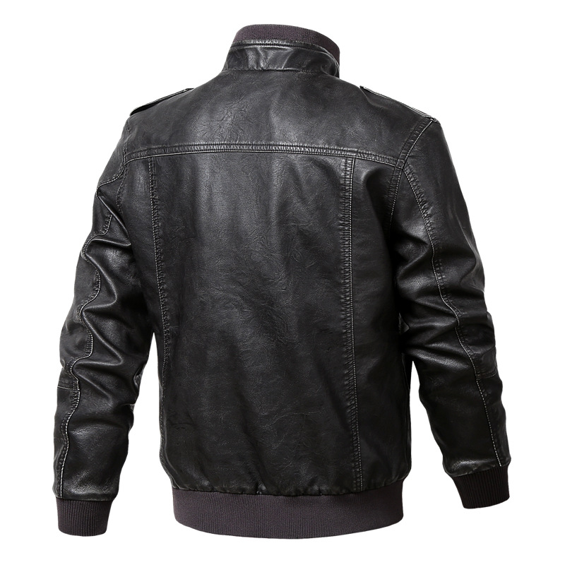 Men Genuine Leather Jackets Motorcycle Stand Collar Zipper Pocket Male Plus Size M-5XL Coats Biker Cow Leather Fashion Outerwear 4