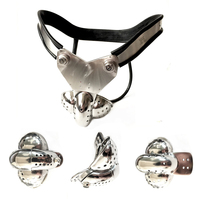 Stainless Steel Mens Chastity Device Scrotum Bondage Male Chastity Belt Double Wire Chastity Device Cock Cage Sex Toys For Men