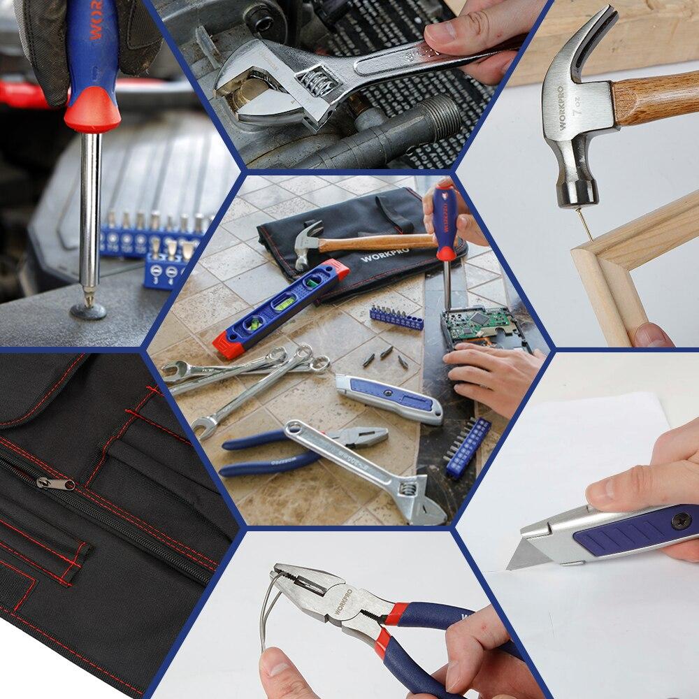 Купить с кэшбэком WORKPRO 29PC Home Tool Set Metric Hand Tools Plier Knife Screwdriver Wrench Hammer Metric Tools Roll Bag