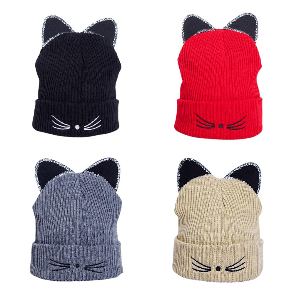 Korean Women Girls Cute Cats Whisker Embroidery Cuffed Hat Rhinestone 3D Ears Solid Color Winter Ribbed Knitted Beanie Cap