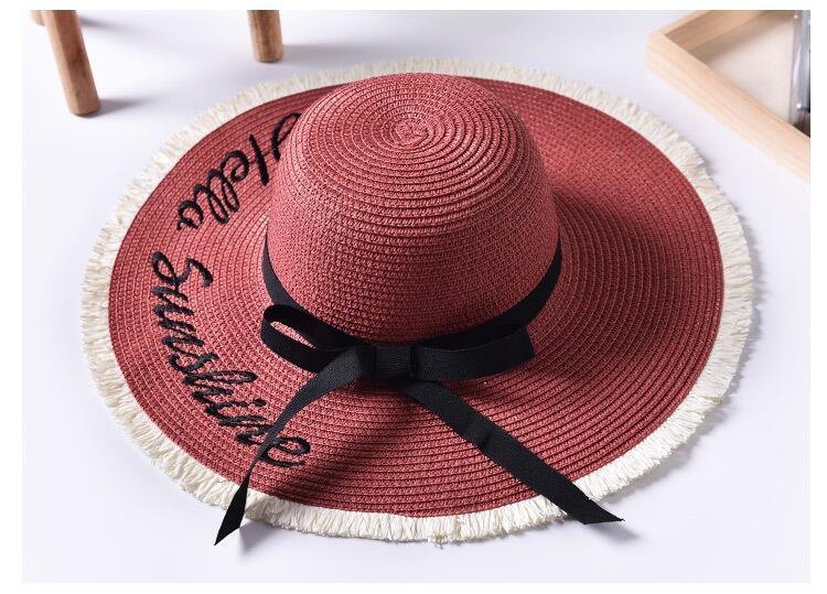 Hbe7f7b5418974edd912e216de3299b9cm - Handmade Weave letter Sun Hats For Women Black Ribbon Lace Up Large Brim Straw Hat Outdoor Beach hat Summer Caps Chapeu Feminino