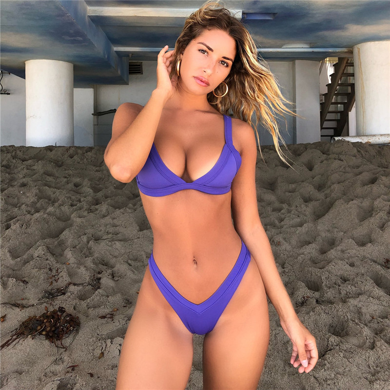 2020 Summer Women Two Pieces Bikini Set Hit Color High Quality Padded Push Up Swimwear Swimsuit New Arrival Biquini