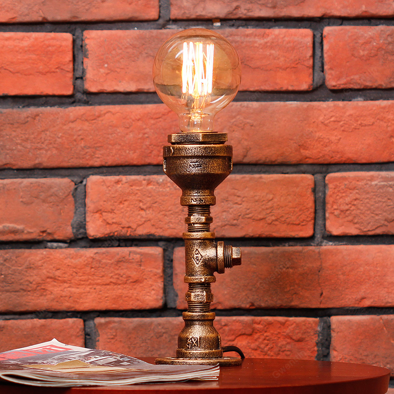 Loft Industrial Water Pipe Table Lamps for Bedroom Bar Retro Iron Desk Lamp Vintage Led Stand Light Fixtures Reading Home Decor