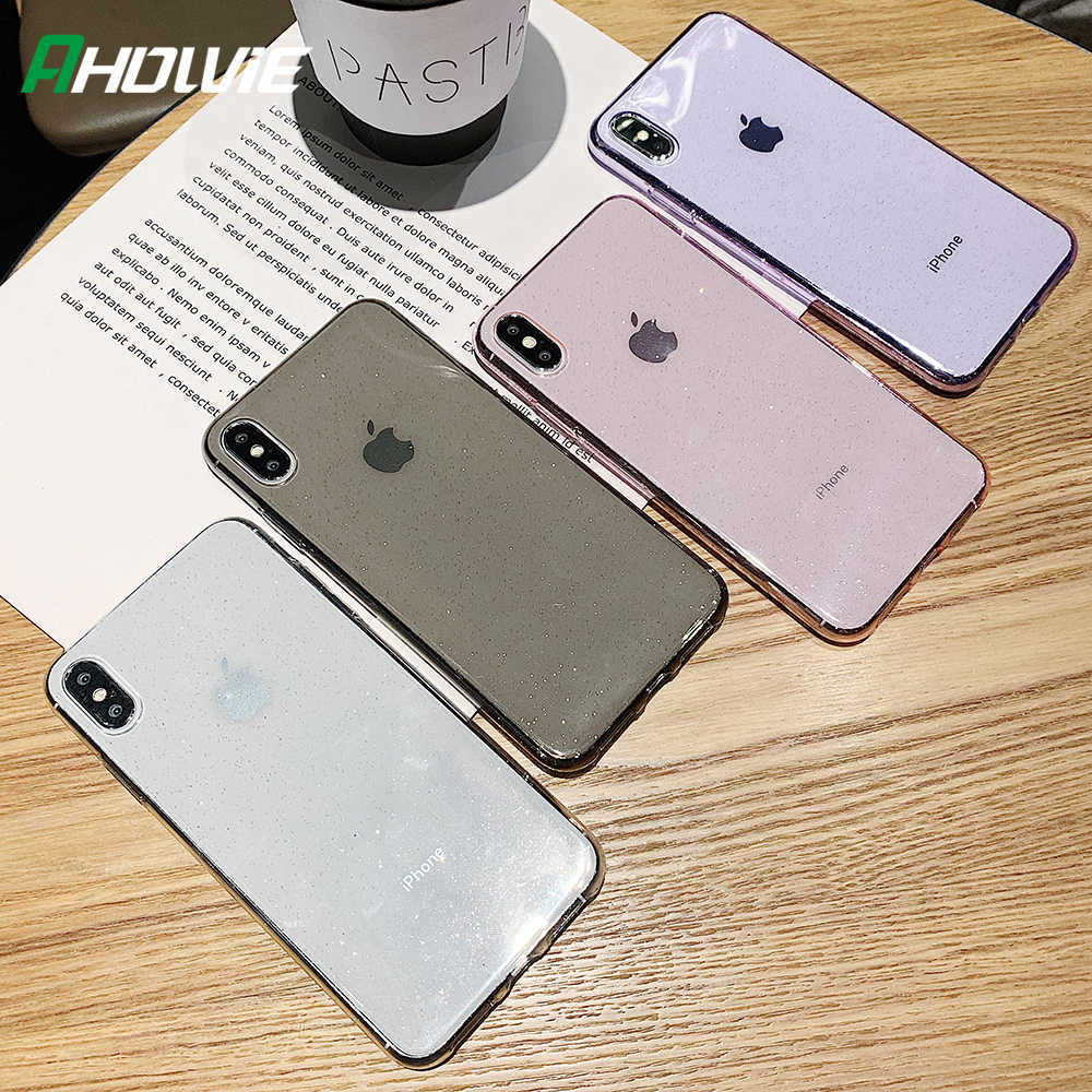 Glitter Poeder Telefoon Case Voor Iphone 11 Pro Xs Max X Xr Shockproof Transparant Soft Tpu Cover Voor Iphone 7 6S 8 Plus Luxe Case
