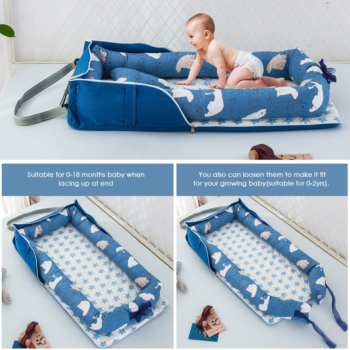 Baby Lounger Folding Portable Baby Nest Bed For Boys Girls Travel Bed Infant Cotton Cradle Crib Baby Newborn Bed Travel Bedroom