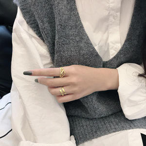 Image 5 - 925 anillos de plata esterlina de oro hueco Irregular para mujer, anillo Anelli Argento 925, joyería fina para mujer, joyería