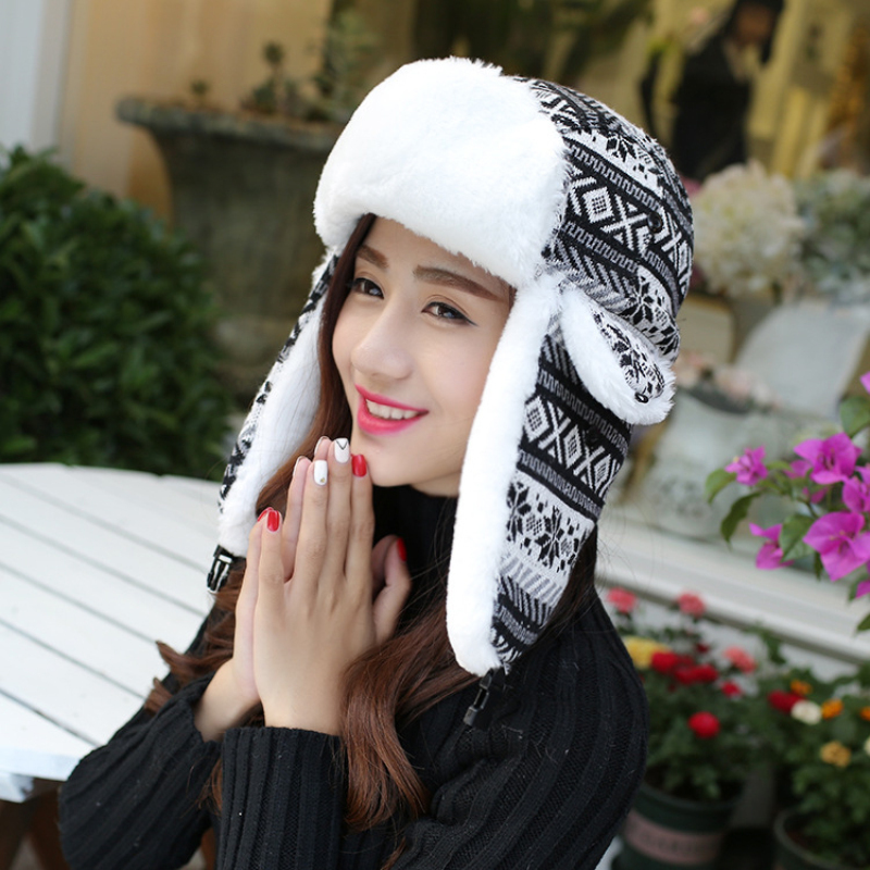 MZ010 Russian Hat Women Snowflake Ushanka Hat Ladies Thick Warm Earflap Cap Female Winter Fur Hat Ladies Ear Flap Trapper Cap