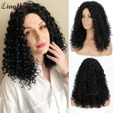 Kinky Curly Wigs Wig-Afro Short LINGHANG Synthetic Blonde Heat-Resistant Brown 16inch