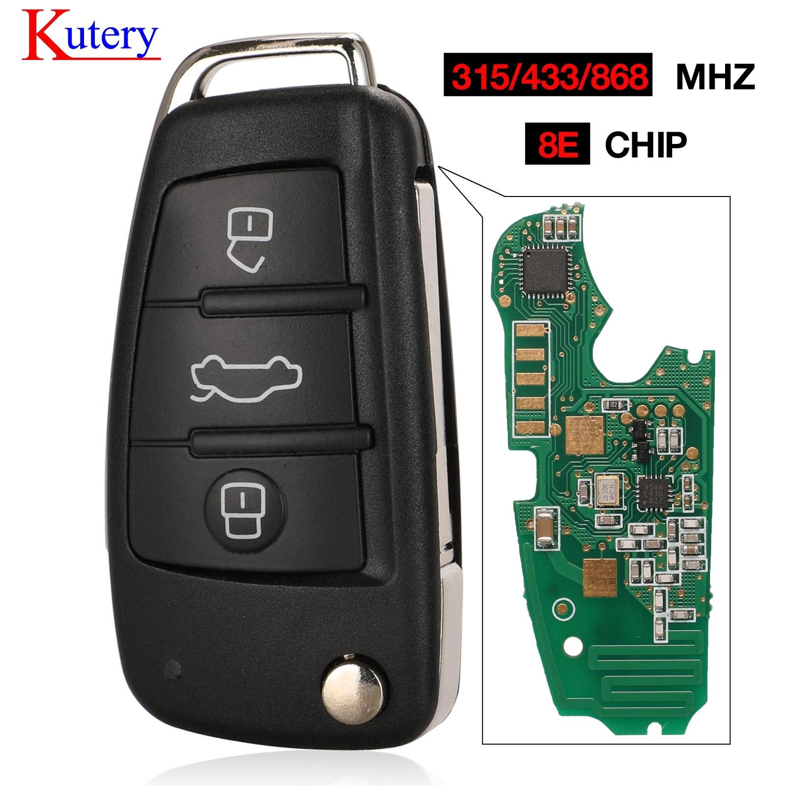 A6L Q7 8E0837220Q kutery para Audi 315/ 433/868MHz Com 8E Chip eletrônico P/N 8E0 837 220Q Af Flip 3 Botão do Controle Remoto Fob Chave Do Carro