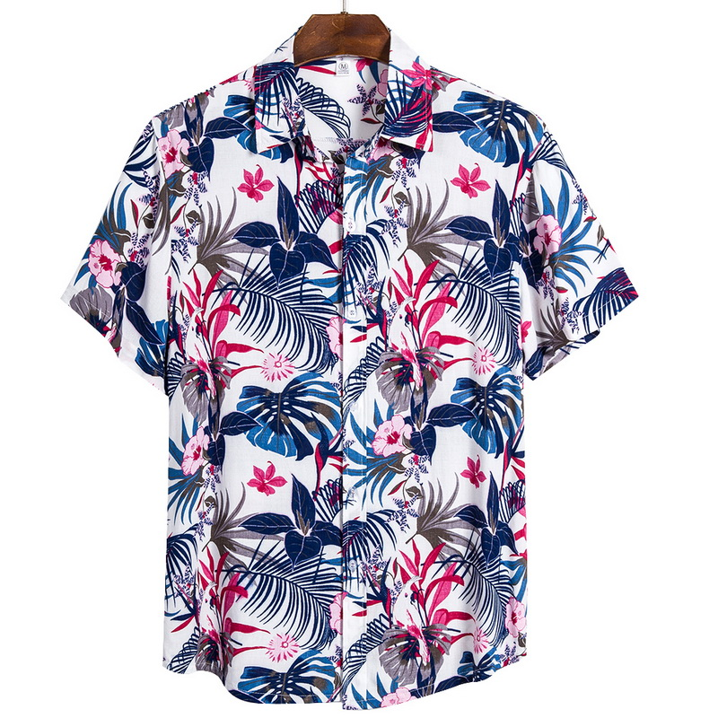 MONERFFI 2020 Quality Harajuku Beach Shirt Men Short Sleeve Hawaiian Shirt Casual Summer Floral Print Men Blouse Loose Surfing