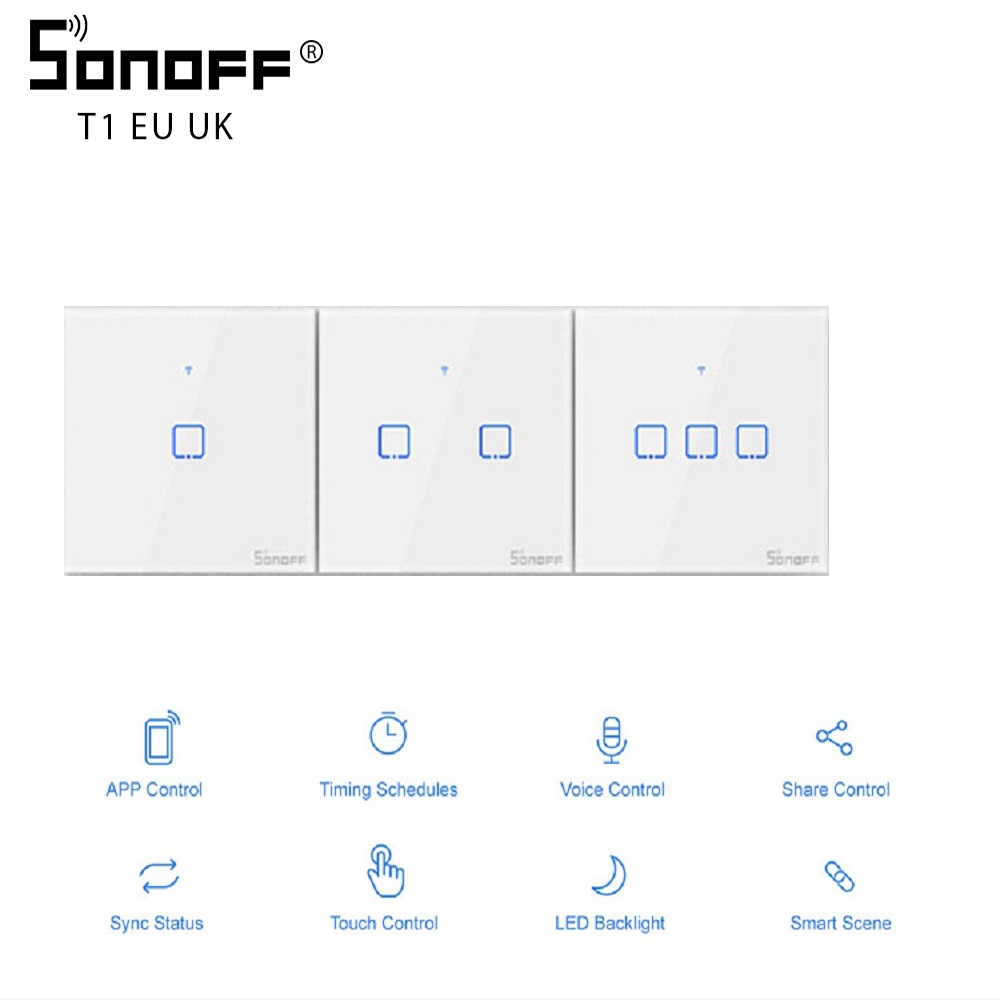 SONOFF TX/T1 EU/UK 1/2/3 Gang Wifi Wall Touch Switch Light Led 433 Rf/Voice/App Remote Control Work With Google/Smart Home Alexa