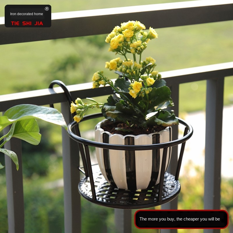 Powerful bearing capacity balcony flower rack round and smooth household iron hanging flower pot hanging rack railing stable and