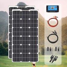 ערכת פנל סולארי 200w 100w 18v גמיש פנלים סולאריים מודול 20A בקר עבור חניך קרוון סירת רכב סוללה 12v אנרגיה chargin