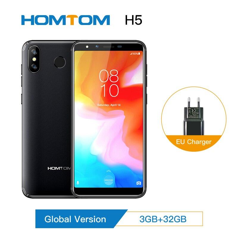 "Original mundial HOMTOM H5 3GB + 32GB MT6739 Quad Core teléfono móvil 5,7 ""GPS huella Face ID Android 8,14G FDD-LTE Smartphone"