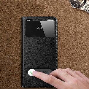 Image 3 - Caso para iphone 11 capa de couro genuíno capa de luxo para iphone 11 pro max capa flip janela ver casos de telefone com suporte