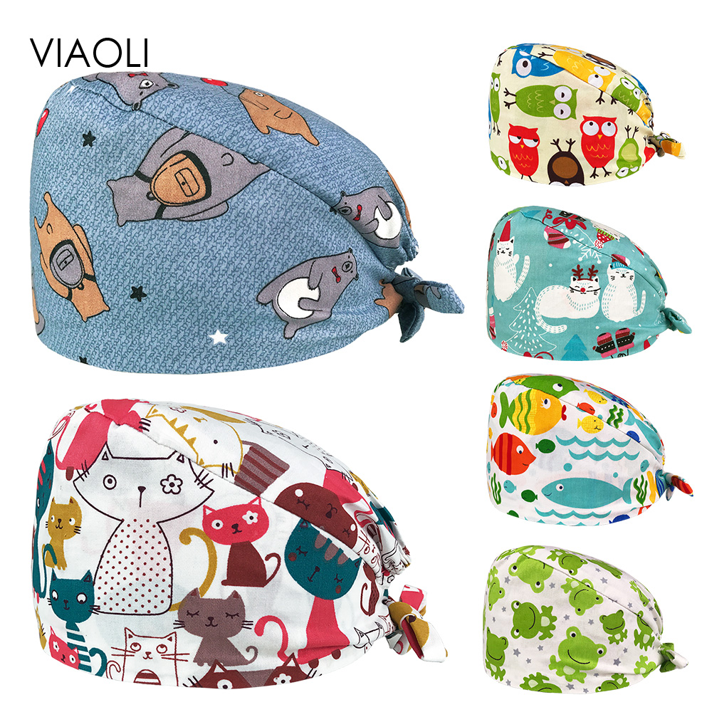 Unisex Pet Hospital Doctor Working Hat Adjustable Cotton Medical Surgery Cap Laboratory Pharmacy Nursing Caps Nurse Accessories