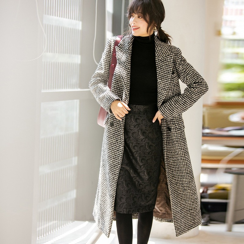 AIGYPTOS 2019 Autumn And Winter New Houndstooth Korean Version Of The Waist Was Thin Fashion Wool Woolen Coat Long Coat