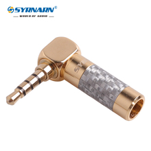 1pcs Right angle Carbon Fiber Adapter Audio Jack 3.5mm 4 Pole Stereo Male Plug Gold Plated Wire Solder Connector for 6mm cable 50pcs gold plated 3 5mm jack stereo audio mini jack plug right angle or straight connector carbon fiber diameter 6mm