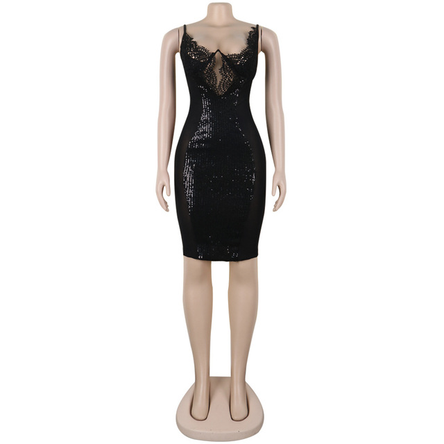 Sexy Lace See Through Dress Women Bodycon Backless Sequin Mini Dress Elegant Hollow Out Evening Party Shiny Dresses Plus Size 4