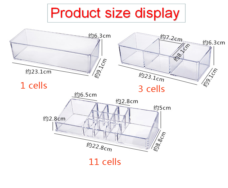 Portable and Transparent Makeup Organizer with Compartments of 18 Grids made of Acrylic for Storage of Beauty Products 5