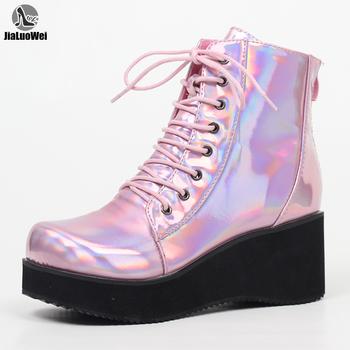 JIALUOWEI New Style Unisex #8217 s Shoes Punk Wedge Heel 7cm Pink Holographic Leather Halloween Costumes Gothic Ankle boots tanie i dobre opinie Wiązanej krzyżowe Mieszane kolory FS02-2 Dla dorosłych Kliny Podstawowe Plac toe Wiosna jesień Buty Wysoka (5 cm-8 cm)