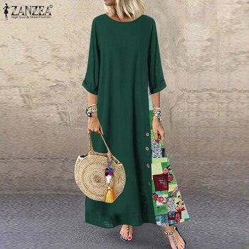 Женский винтажный сарафан ZANZEA 2020, повседневное летнее платье с рукавом 3/4 и круглым вырезом, женское Цветочное платье 3