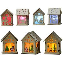 Christmas tree decorations Wooden Adornment Hut with light Christmas Hanging Ornaments Holi