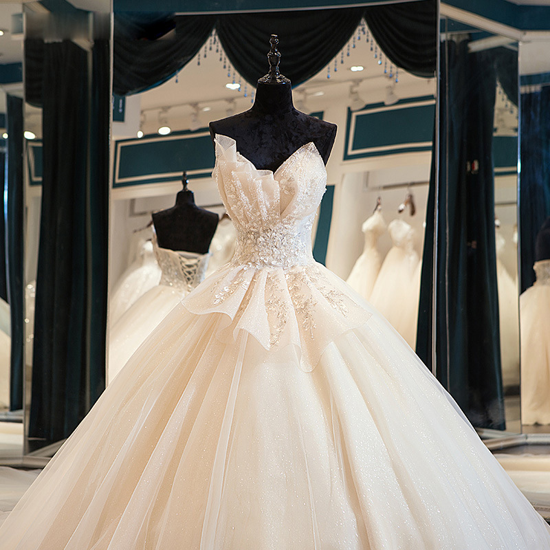 Wedding Dress 2020 Mrs Win Luxury Lace Strapless Wedding Gown Elegant Sweep Train Princess Vestido De Noiva Custom Size